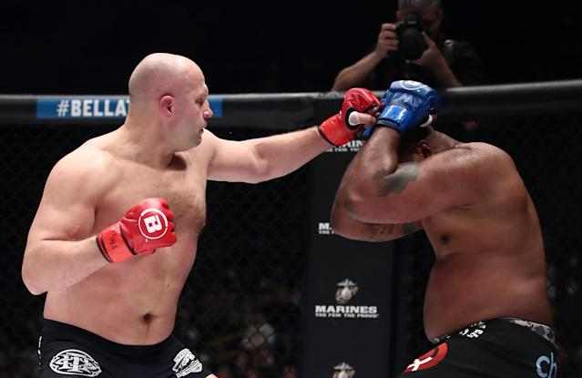 Quinton Jackson (R) has never looked to be in worse physical condition than he did last weekend (Valery Sharifulin\TASS via Getty Images).