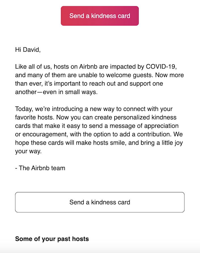 Here's a look at what Airbnb sent guests.