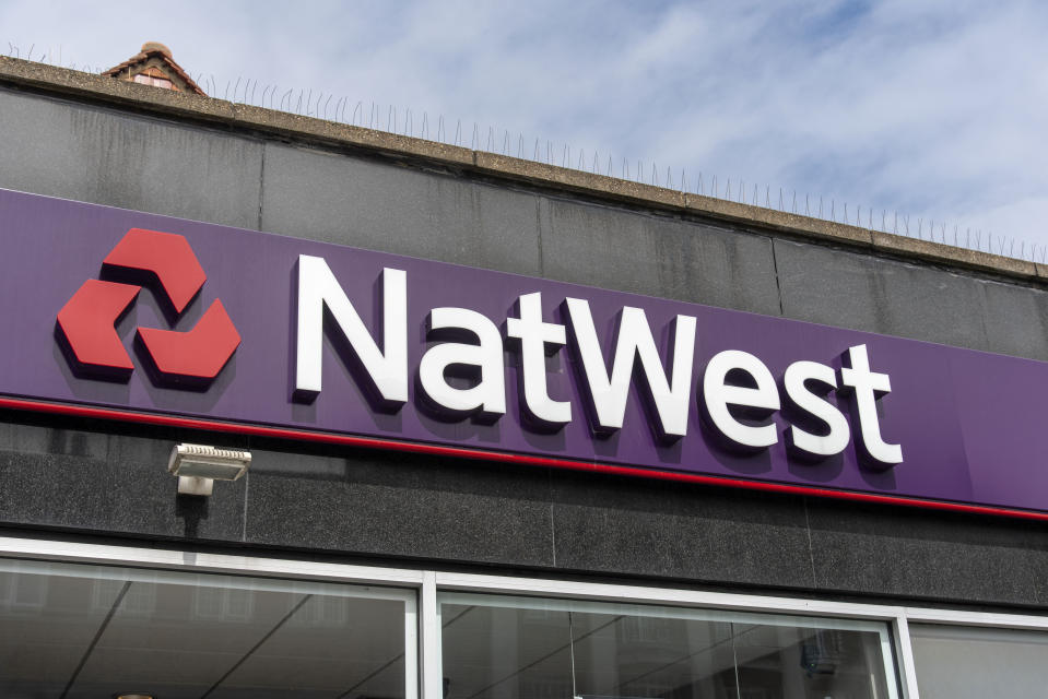 LONDON, UNITED KINGDOM - 2020/08/04: NatWest logo on one of their shops in London. (Photo by Dave Rushen/SOPA Images/LightRocket via Getty Images)