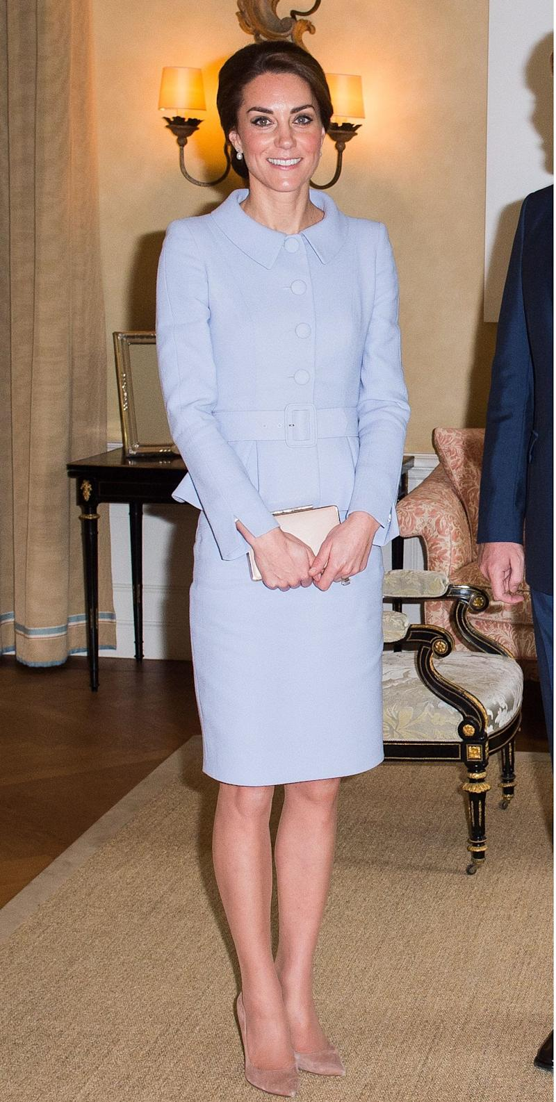 Kate wears Catherine Walker in the Netherlands - Credit: Rex