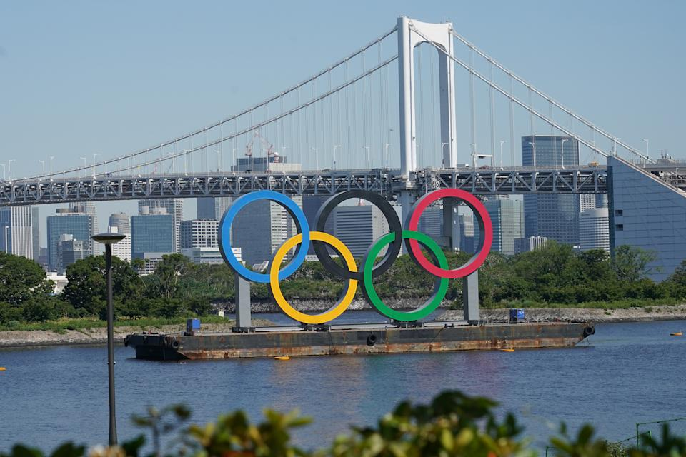 TOKYO, JAPAN - MAY 14: A giant Olympic Rings are seen amid the coronavirus pandemic on May 14, 2020 in Tokyo, Japan. (Photo by Etsuo Hara/Getty Images)