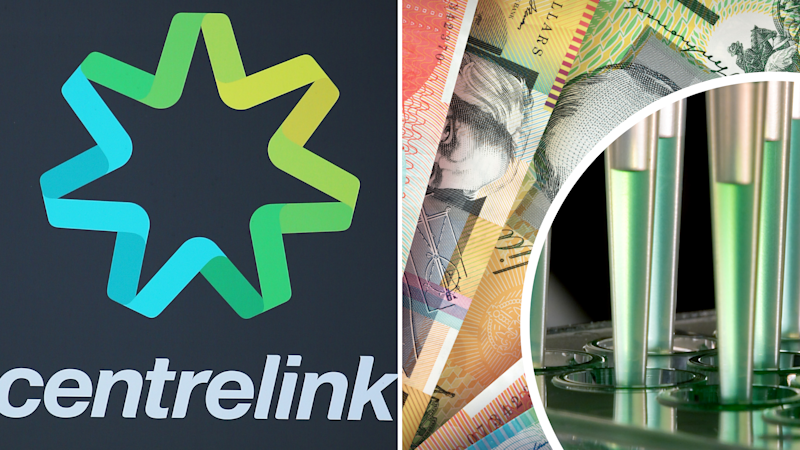 Pictured: Centrelink logo, drug test and Australian cash. Images: Getty