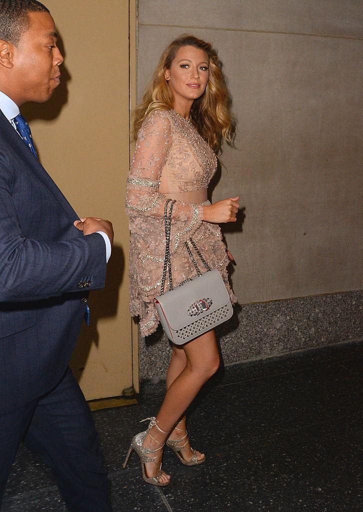 <p>Blake dazzles outside The Today Show in New York.<br><i>[Photo: Getty]</i> </p>