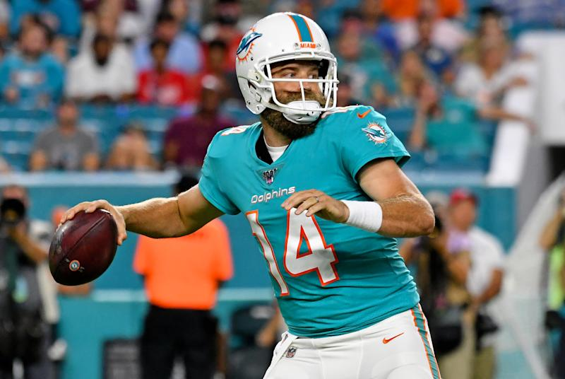 The Miami Dolphins have named Ryan Fitzpatrick their Week 1 starter over Josh Rosen. (Reuters)