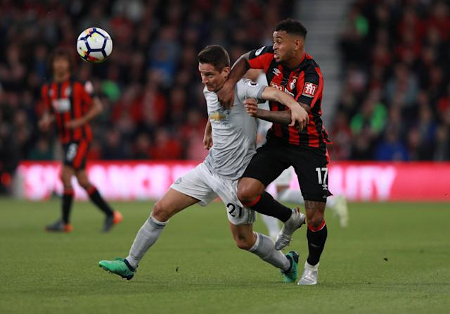 """Soccer Football - Premier League - AFC Bournemouth vs Manchester United - Vitality Stadium, Bournemouth, Britain - April 18, 2018 Manchester United's Ander Herrera in action with Bournemouth's Joshua King REUTERS/Ian Walton EDITORIAL USE ONLY. No use with unauthorized audio, video, data, fixture lists, club/league logos or """"live"""" services. Online in-match use limited to 75 images, no video emulation. No use in betting, games or single club/league/player publications. Please contact your account representative for further details."""