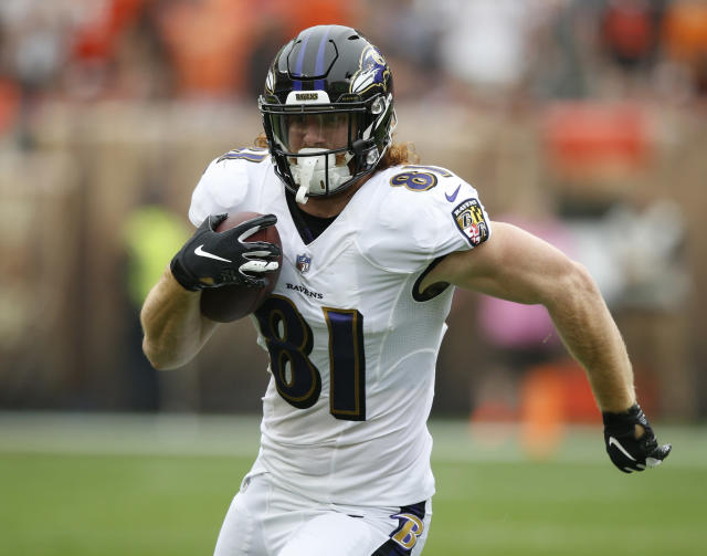 FILE - In this Oct. 7, 2018, file photo, Baltimore Ravens tight end Hayden Hurst rushes during the first half of an NFL football game against the Cleveland Browns, in Cleveland. Rookie tight end Hayden Hurst, the Ravens' top pick in the NFL draft, has just one catch and is still seeking to become a significant contributor. (AP Photo/Ron Schwane, File)