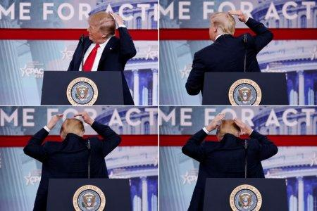 A combination picture shows U.S. President Donald Trump pretending to smooth his hair as he speaks at the Conservative Political Action Conference (CPAC) at National Harbor, Maryland, U.S., February 23, 2018. REUTERS/Joshua Roberts