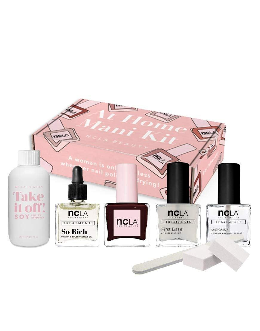 <p>Can't get to the salon? Save a few trips and a few bucks by investing in the <span>NCLA At-Home Manicure Kit 7-Piece Set (Eat Pie, Drink Wine)</span> ($49). The set comes with everything you need for the perfect manicure at home including, a nail filer and buffer, a base and top coat, cuticle oil, nail polish remover, and a stunning dark wine color!</p>