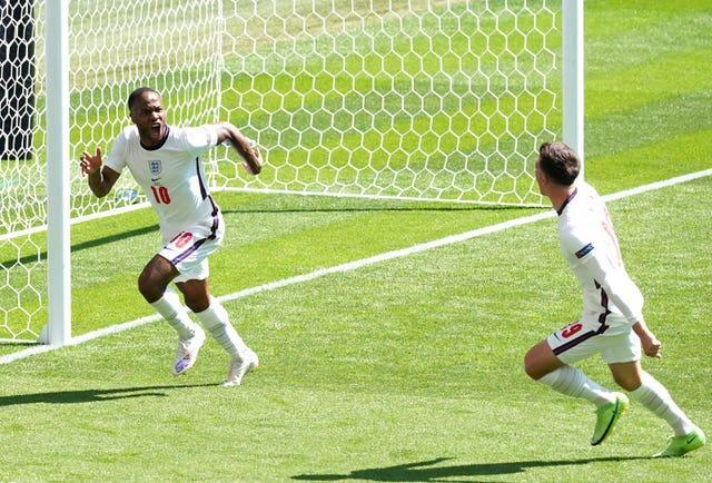 Raheem Sterling, left, scored England's winner with his first tournament goal