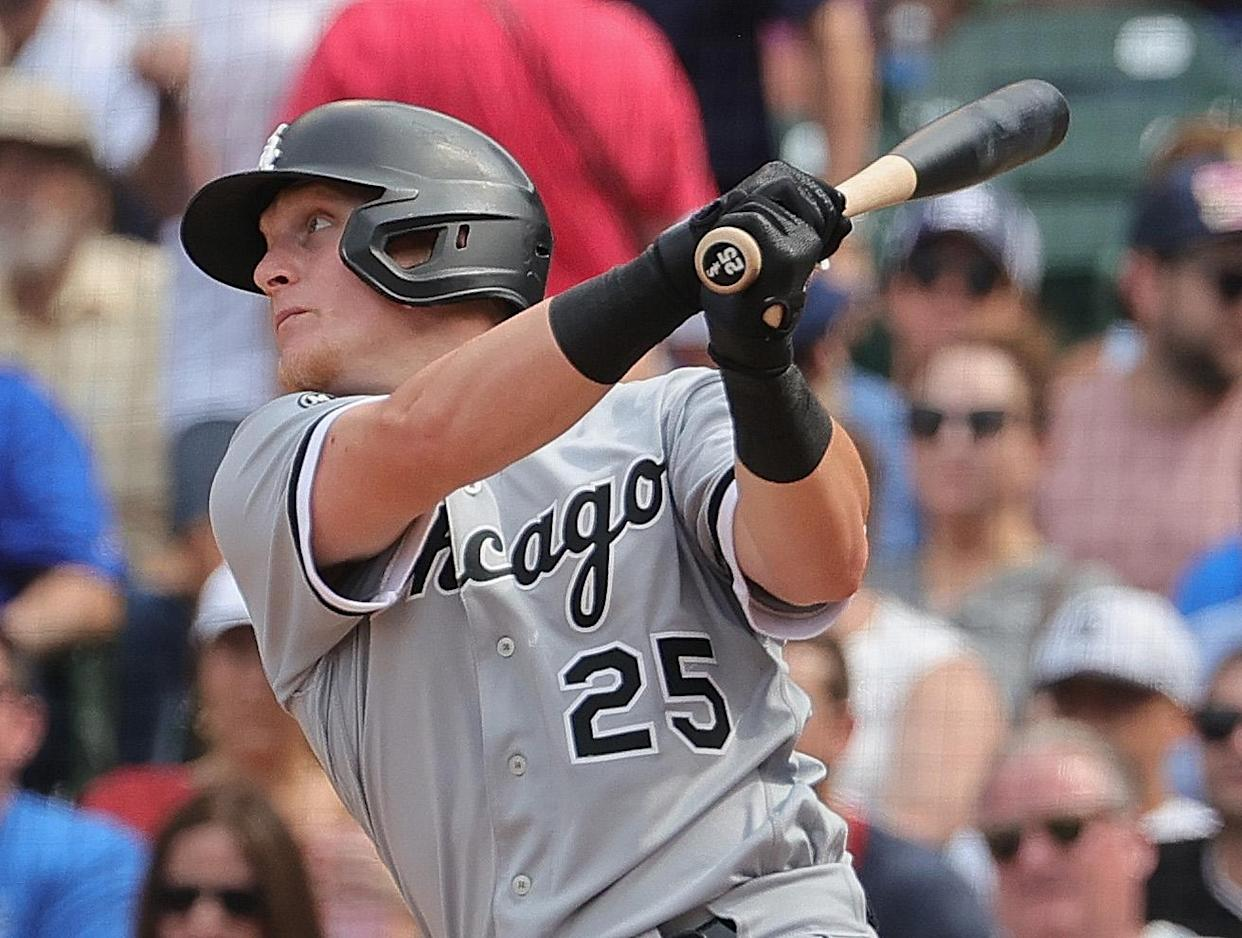 CHICAGO, ILLINOIS - AUGUST 06: Andrew Vaughn #25 of the Chicago White Sox bats against the Chicago Cubs at Wrigley Field on August 06, 2021 in Chicago, Illinois. The White Sox defeated the Cubs 8-6 in 10 innings. (Photo by Jonathan Daniel/Getty Images)