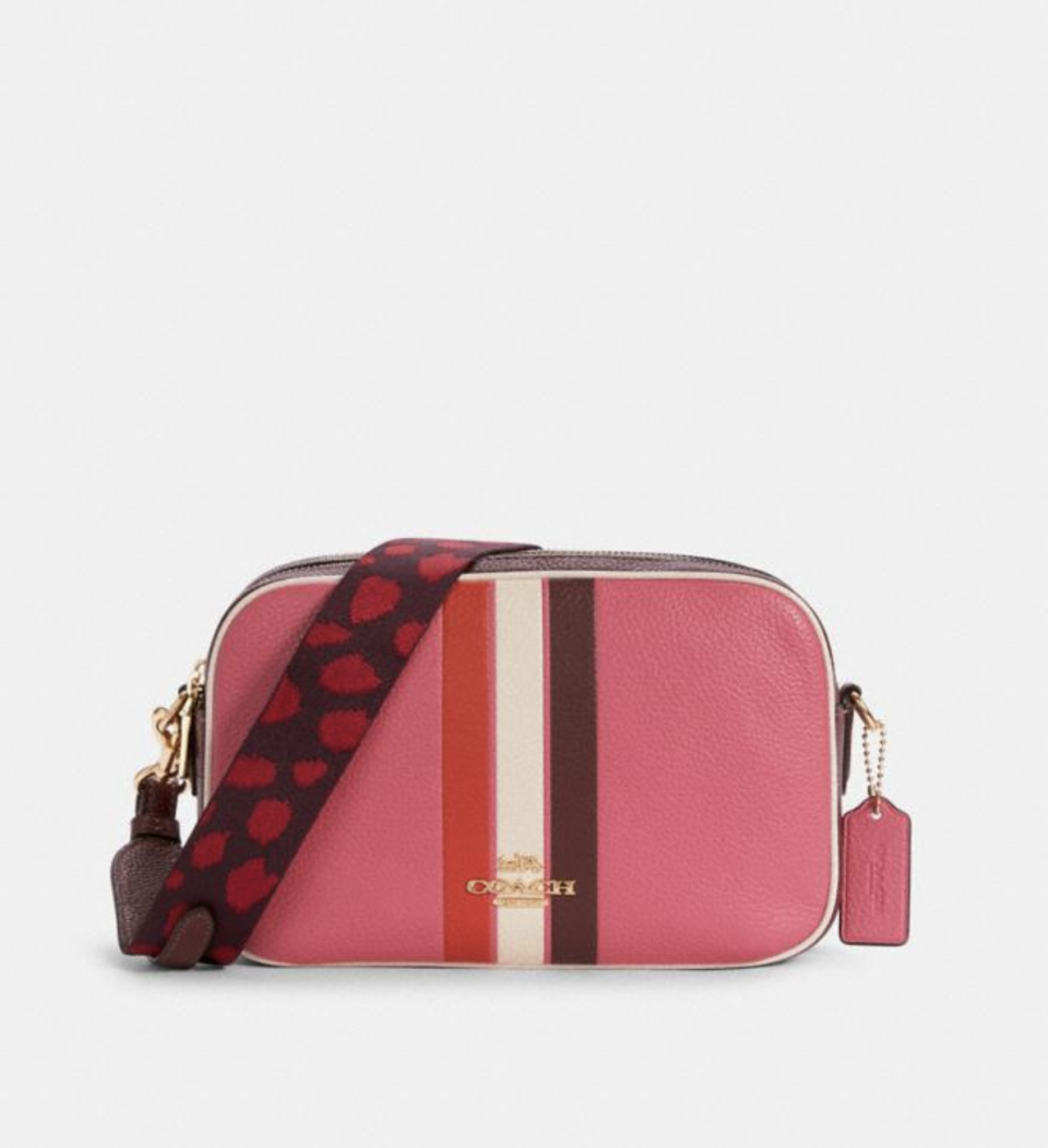 Jes Crossbody in Colorblock with Stripe in Pink/Mango (Photo via Coach Outlet)