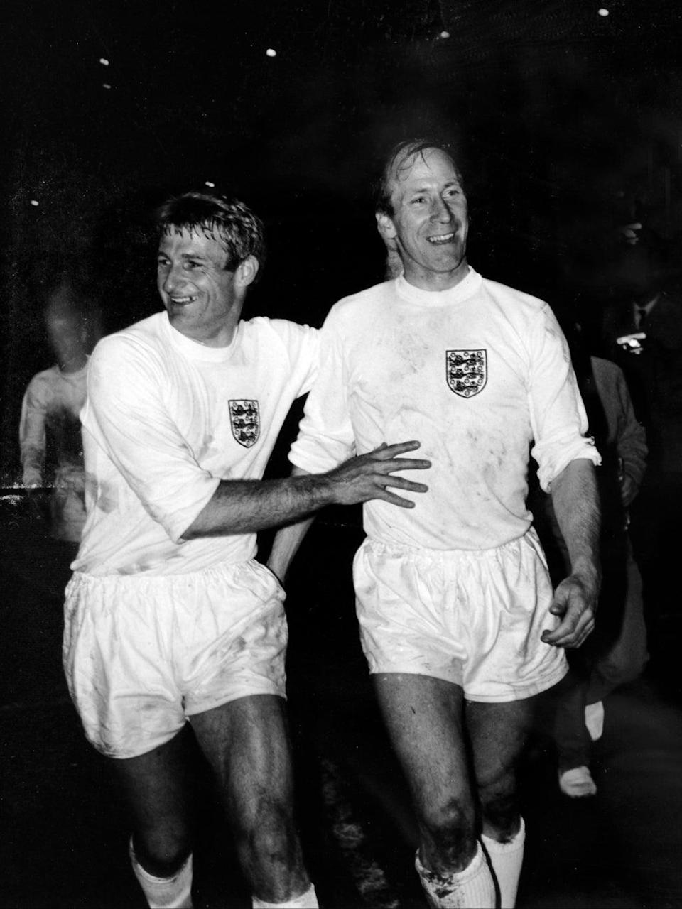 Alongside Bobby Charlton after the European Championship quarter-final in 1968 (Getty)