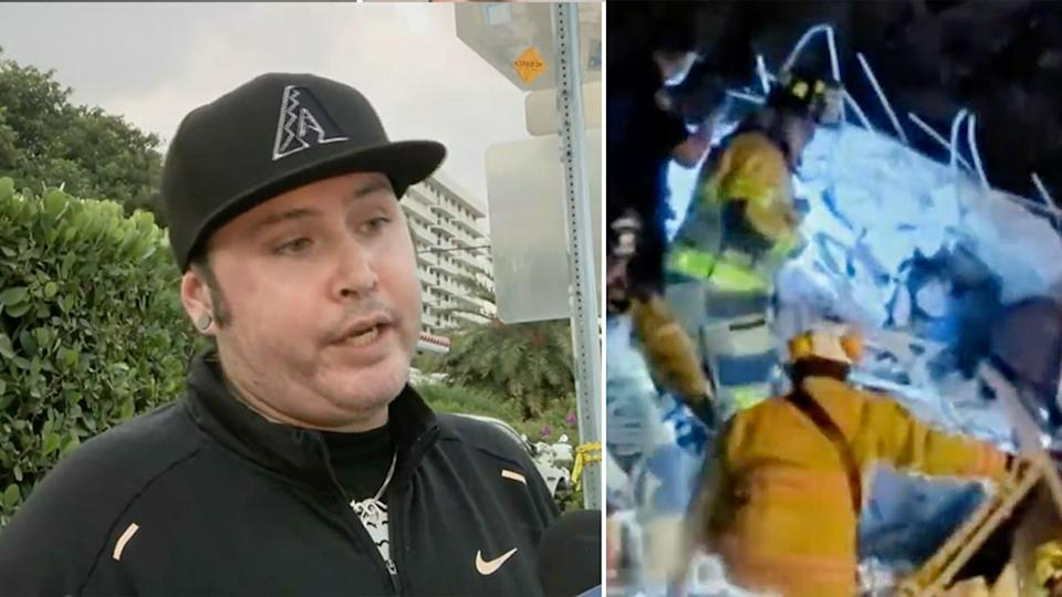 Nicholas Balboa (left) heard a child calling out for help amongst the rubble. Source: CBS Miami