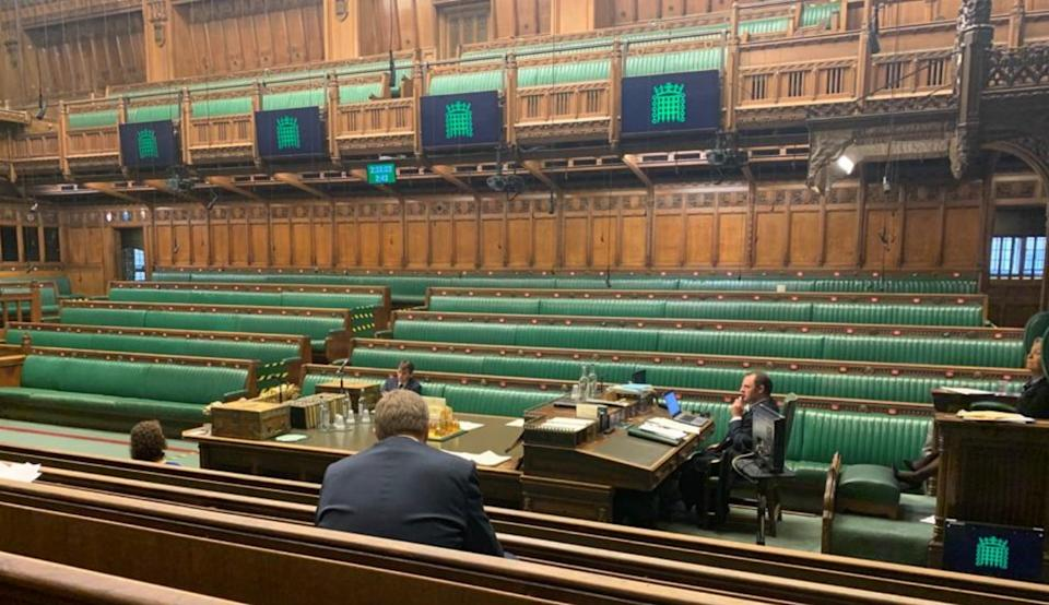 The empty House of Commons (Photo: HuffPost UK)