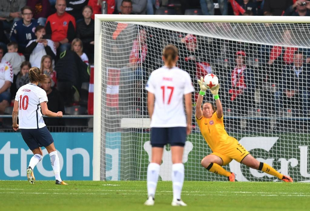 Denmark's goalkeeper Stina Lykke Petersen defends a penalty on July 24, 2017 (AFP Photo/DANIEL MIHAILESCU)