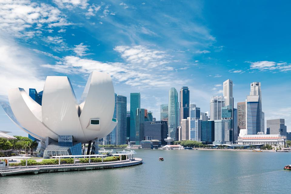 Singapore, Singapore - October 17, 2017: Singapore city landscape at day blue sky. Downtown business district at Marina Bay view. Urban skyscrapers cityscape