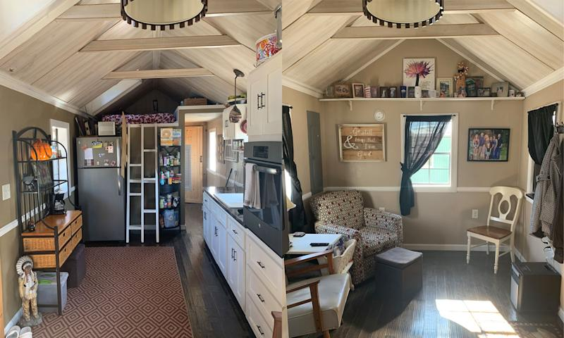 Keli and Ryan Brinks of Kentucky live in a tiny home apart from their children, ages 16 and 18. Pictured: The couple's kitchen and living room. (Photo: Courtesy of the Brinks family)