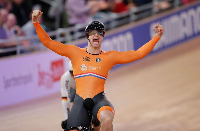 Netherlands Harrie Lavreysen celebrates winning Gold in the mens 15 km Keirin final at the UCI track cycling World Championship at the velodrome in Berlin on February 27 2020 Photo by Odd ANDERSEN AFP Photo by ODD ANDERSENAFP via Getty Images