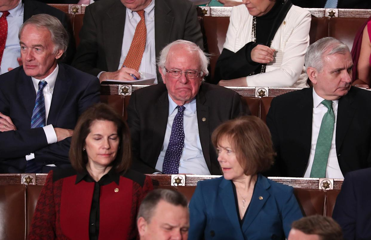 Sen. Bernie Sanders reacts to President Trump's 2019 State of the Union address. (Photo: Jonathan Ernst/Reuters)