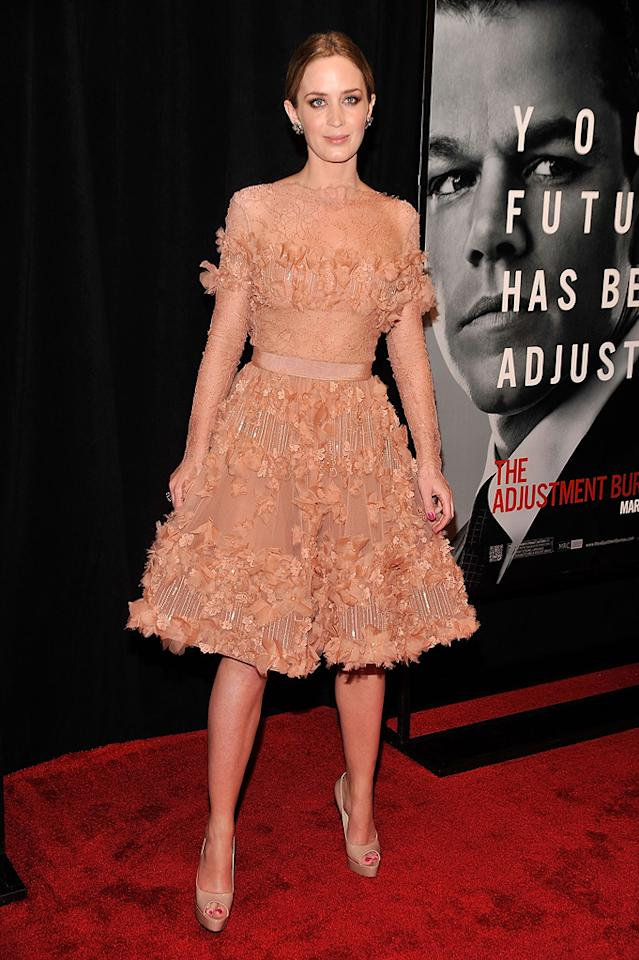"""<a href=""""http://movies.yahoo.com/movie/contributor/1808577445"""">Emily Blunt</a> at the New York City premiere of <a href=""""http://movies.yahoo.com/movie/1810119644/info"""">The Adjustment Bureau</a> on February 14, 2011."""