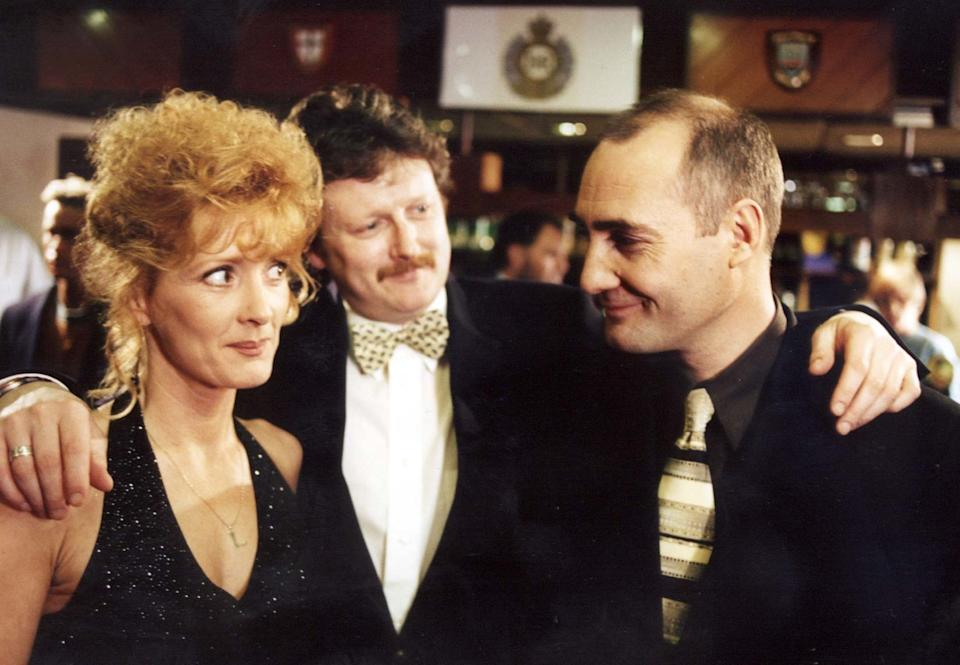 EMBARGOED: NOT FOR PUBLICATION BEFORE 0001hrs SATURDAY, FEBRUARY 24.  Liz (Beverley Callard) senses danger when she and Jim (Charles Lawson) meet up with Johnny Johnson (Robert Gwilym) at the army reunion.
