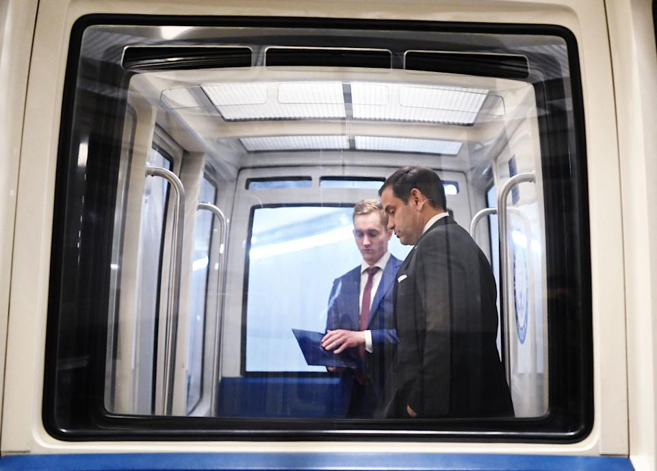 Senator Marco Rubio (R-Fla.) rides a subway car at the U.S. Capitol on May 18. Rubio could be facing his toughest race since his first Senate campaign in 2010. (Photo: MANDEL NGAN via Getty Images)