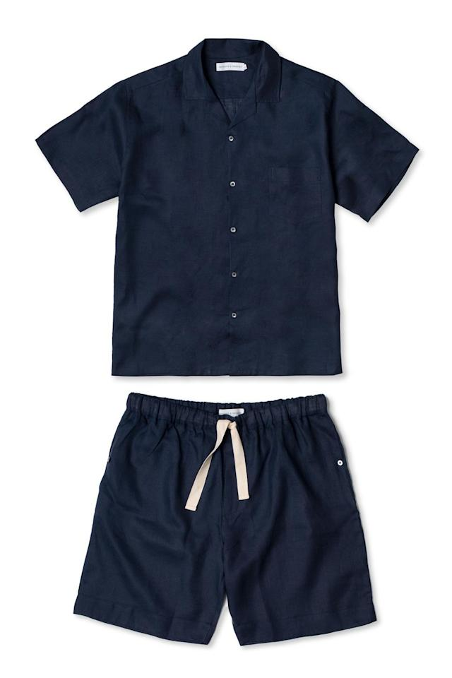 """<p>Made from 100 per cent linen with laid-back tailoring, these understated yet chic pyjamas are perfect for any dad. Take the shirt from night to day and show him how to pair it with jeans or chinos for a relaxed daytime look. </p><p>Navy linen pyjama top, £79; shorts, £75, both Desmond and Dempsey<a href=""""https://www.desmondanddempsey.com"""" target=""""_blank""""><br></a><br></p><p><a class=""""body-btn-link"""" href=""""https://www.desmondanddempsey.com"""" target=""""_blank"""">SHOP NOW</a></p>"""