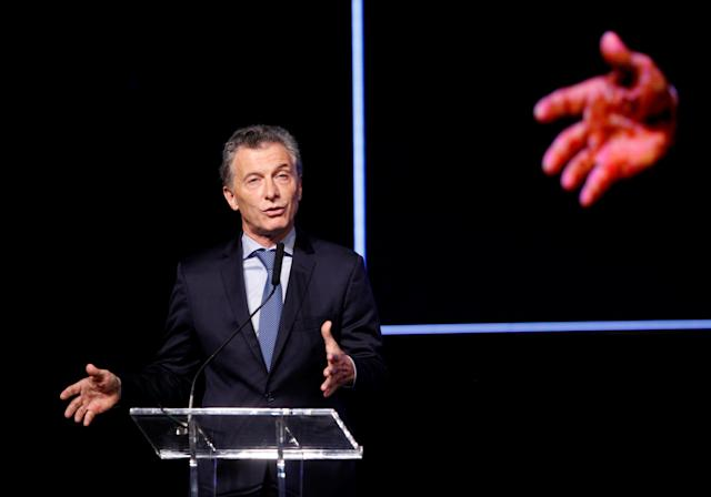 Argentina's President Mauricio Macri delivers a speech at the 68th Ordinary CONMEBOL Congress in Buenos Aires, Argentina April 12, 2018. REUTERS/Martin Acosta