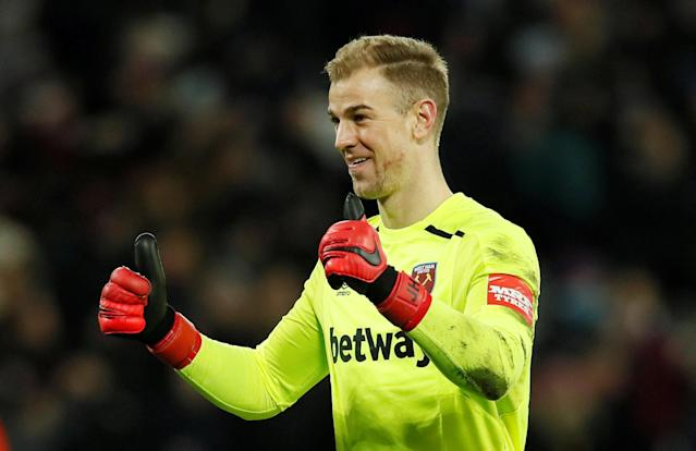 Soccer Football - FA Cup Third Round Replay - West Ham United vs Shrewsbury Town - London Stadium, London, Britain - January 16, 2018 West Ham United's Joe Hart celebrates their first goal REUTERS/David Klein