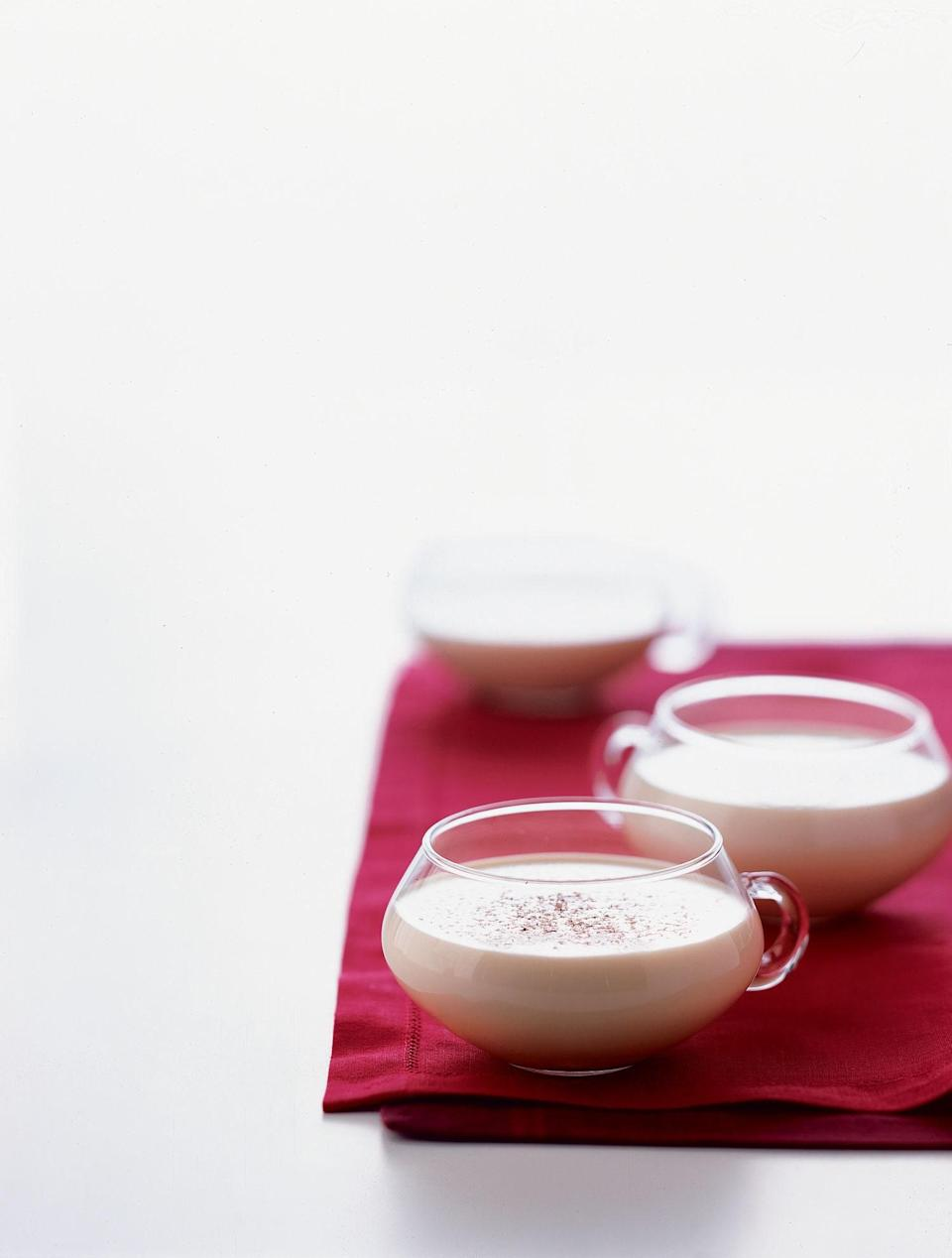 """<p>1 1/2 ounces <a href=""""http://www.baileys.com/Gateway/"""" rel=""""nofollow noopener"""" target=""""_blank"""" data-ylk=""""slk:Baileys Irish Cream"""" class=""""link rapid-noclick-resp"""">Baileys Irish Cream</a></p> <p>2 ounces hot chocolate</p> <p>1/2 ounce creme de cacao</p> <p>1/2 ounce creme de menthe</p> <p>Whipped cream (for garnish)</p> <p>Candy cane (for garnish)</p> <p>Mix all ingredients in a mug and top with whipped cream and candy cane for garnish.</p> <p><em>Created by Haven Rooftop</em></p>"""