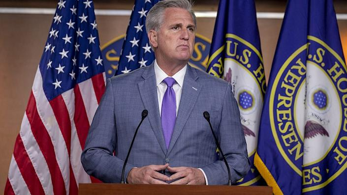 House Minority Leader Kevin McCarthy (R-CA) speaks at the weekly news conference on Capitol Hill on December 03, 2020 in Washington, DC. (Photo by Tasos Katopodis/Getty Images)