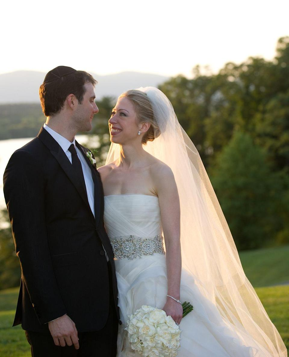 "<p>Chelsea Clinton's 2010 nuptials took place in front of 400 guests at the Astor Courts estate in New York and reportedly cost $3 million. Since she is the daughter of a former President, security was a high priority for the couple, as <a href=""https://www.cnbc.com/id/38487026"" rel=""nofollow noopener"" target=""_blank"" data-ylk=""slk:they spent $250,000"" class=""link rapid-noclick-resp"">they spent $250,000</a> to keep the event under-wraps from wandering eyes. </p>"