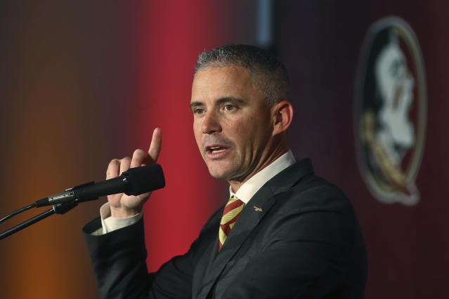 Florida State head football coach Mike Norvell speaks at a news conference Sunday, Dec. 8, 2019, in Tallahassee, Fla. Norvell is Florida States new coach, taking over a Seminoles program that has struggled while he was helping to build Memphis into a Group of Five power. (AP Photo/Phil Sears)