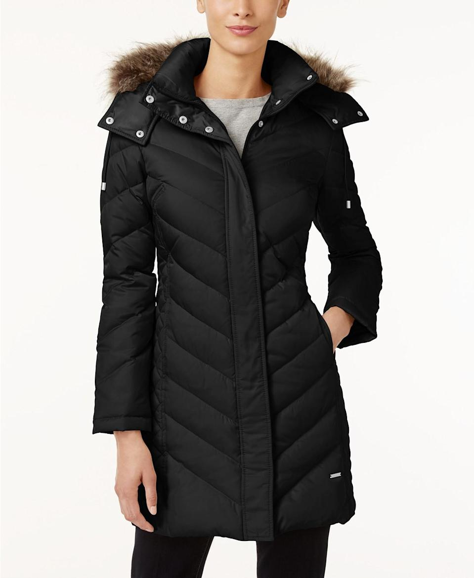 Kenneth Cole Hooded Faux-Fur-Trim Down Chevron Puffer Coat (Photo: Macy's)