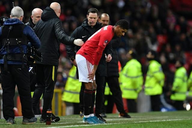 Manchester United striker Marcus Rashford is on track to return from his back injury (AFP Photo/Paul ELLIS)
