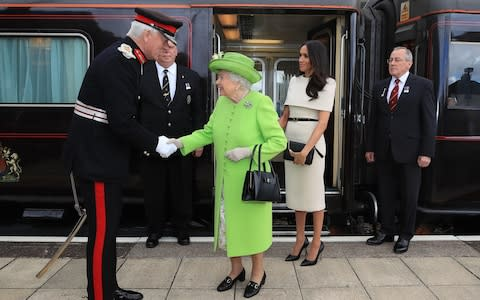 The Queen and Duchess departing the royal train - Credit: PA