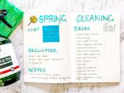 """<p>Keep your <a href=""""https://diaryofajournalplanner.com/best-spring-cleaning-hacks-for-bullet-journal/"""" rel=""""nofollow noopener"""" target=""""_blank"""" data-ylk=""""slk:spring cleaning list"""" class=""""link rapid-noclick-resp"""">spring cleaning list</a> in order with this bullet journal spread from Diary of a Journal Planner. Make a list of cleaning products on a detachable Post-It, notes on what needs to get done, specific cleaning tasks, and decluttering projects all in one, aesthetically pleasing spot. </p>"""
