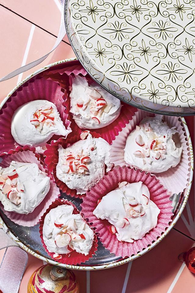 """<p><b>Recipe: <a href=""""https://www.southernliving.com/recipes/peppermint-divinity"""">Peppermint Divinity</a></b></p> <p>We gave the classic divinity recipe you remember from Grandma's a festive touch with peppermint.</p>"""