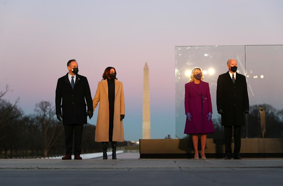 From left, Doug Emhoff, Kamala Harris, Jill Biden and Joe Biden