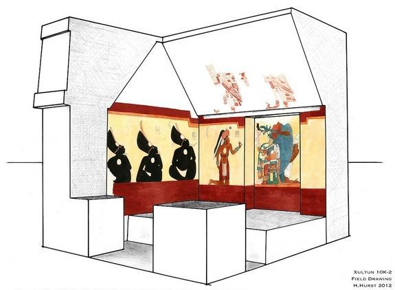 This illustration shows a view of the northern and western walls in the Xultun mural chamber.