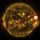 """FILE - This Monday, Jan. 12, 2015 photo provided by NASA shows the first notable solar flare of 2015, as observed from NASA's Solar Dynamics Observatory. On Friday, July 16, 2021, The Associated Press reported on stories circulating online incorrectly asserting a solar storm is heading toward Earth and could impact cell phone signals and cause blackouts. But Alex Young, solar physicist at NASA, says a July 3 solar flare did interfere with some high frequency communication, but the impact was less than it could have been. """"This was really very slow and it was not fully directed at Earth,"""" Young said. """"We don't have any expectation of seeing any impact on Earth."""" (AP Photo/NASA, File)"""