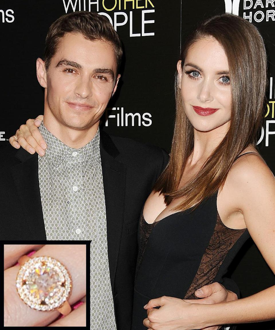 """<p>Actor Dave Franco <a rel=""""nofollow noopener"""" href=""""http://www.instyle.com/news/alison-brie-dave-franco-engaged"""" target=""""_blank"""" data-ylk=""""slk:proposed"""" class=""""link rapid-noclick-resp"""">proposed</a> to his girlfriend, Alison Brie, in August 2015 with a beautiful vintage-inspired round diamond, set in yellow gold. </p>"""