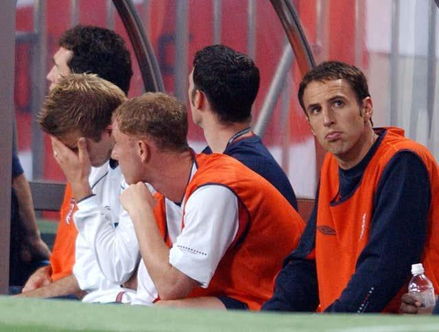 Southgate (right) was a member of Eriksson's England squad at the 2002 World Cup.