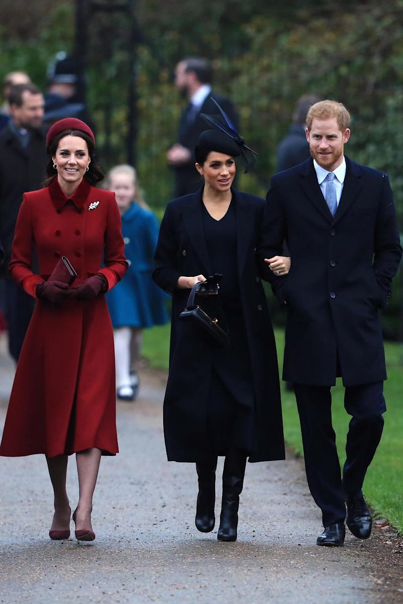 Markle wore Beckham again for her first Christmas Day at Sandringham in 2018 (Stephen Pond/Getty Images)