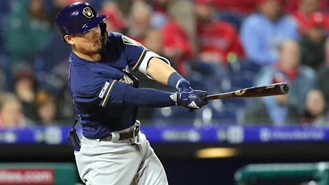 Hiura, the Brewers' top prospect and the No. 15 overall MLB prospect, lined a shot down the left-field line for his first home run.