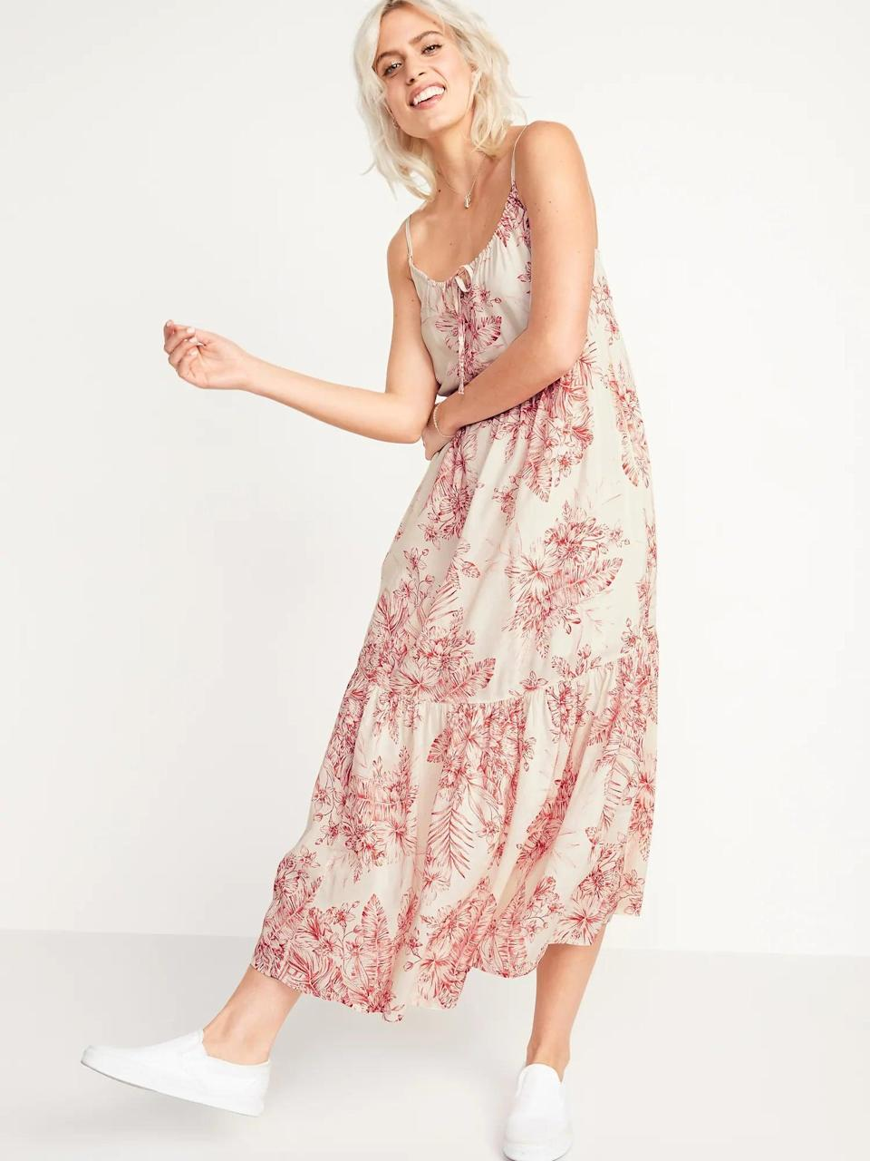 <p>This cute <span>Old Navy Tiered Tie-Neck Maxi Swing Sundress</span> ($45) will be worn on repeat this summer.</p>