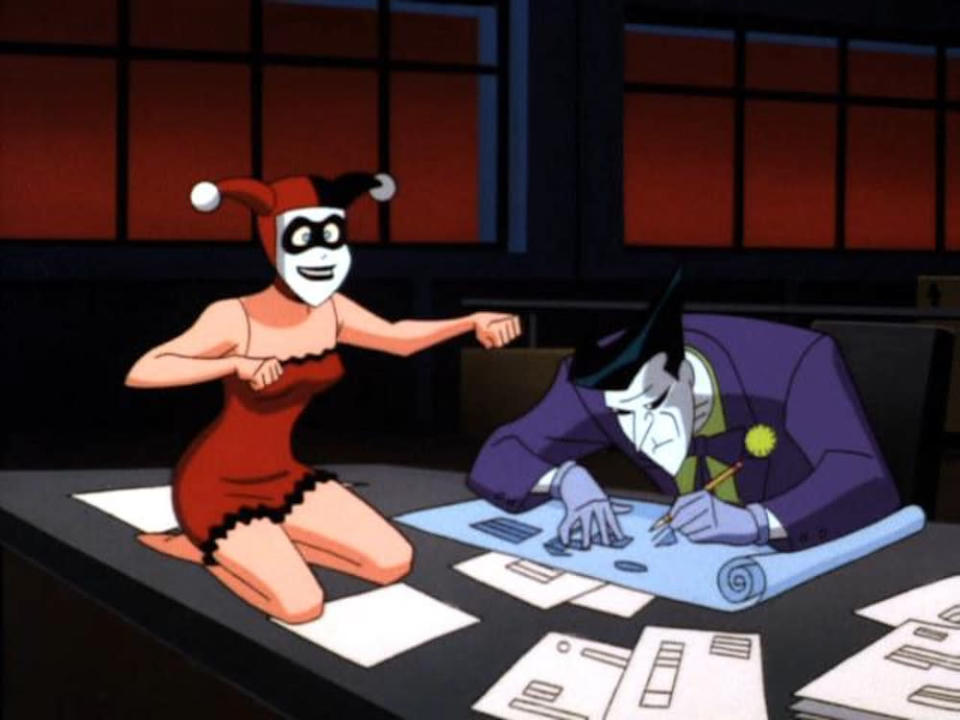 "<p>Dini showed his sketch to Bruce Timm, lead artist and co-producer of <i>Batman: The Animated Series</i>. ""I think we can do better,"" Timm told Dini and he came up with the classic red-and-black jester-style look for her first appearance. ""She combined a sense of fun and impishness. You could tell she was a gymnast or maybe a ballet dancer just from the way he drew her — up and ready to move,"" says Dini.</p>"