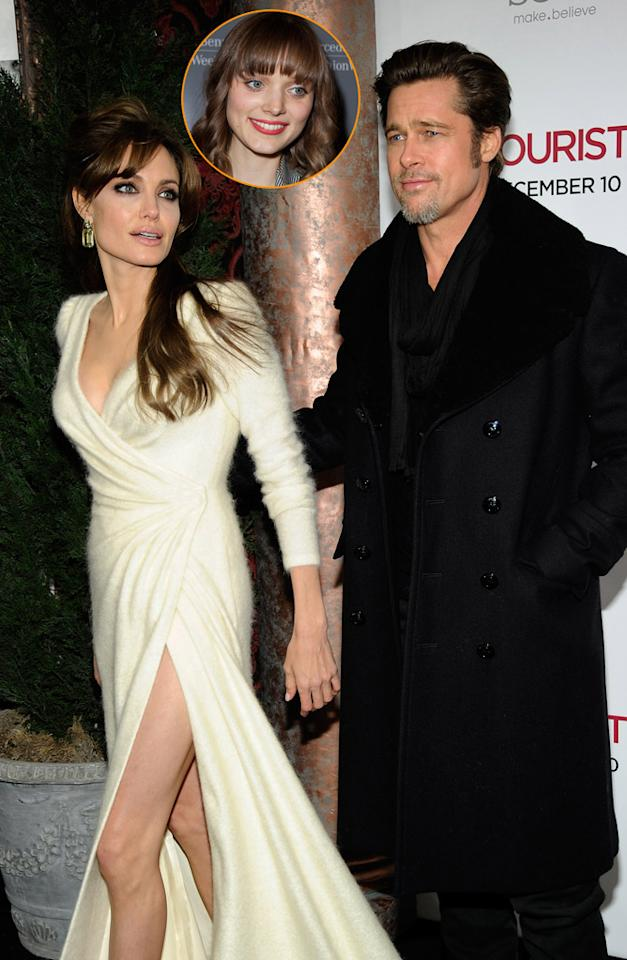 """<i>Star</i> reports Brad Pitt has been """"caught"""" in a """"nude scandal"""" involving his sexy """"Cogan's Trade"""" co-star Bella Heathcote. After Heathcote openly discussed her """"desire to get naked"""" with Pitt, Angelina Jolie has been on """"high alert,"""" and is """"desperate to keep him away from Bella."""" According to <i>Star</i>, Jolie knows Pitt could """"easily fall"""" for Heathcote, and it led to the couple having a huge """"blow-up."""" For how Pitt's already been tempted by Heathcote, and how his relationship with Jolie has fallen apart, log on to <a href=""""http://www.gossipcop.com/brad-pitt-bella-heathcote-scandal-affair-nude-naked-angelina-jolie/"""" target=""""new"""">Gossip Cop</a>. Kevin Mazur/<a href=""""http://www.wireimage.com"""" target=""""new"""">WireImage.com</a> - December 6, 2010"""
