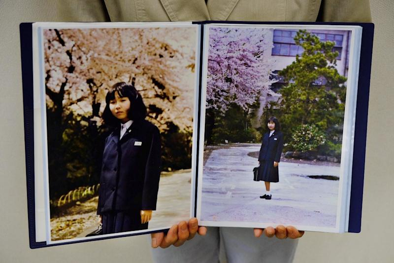 Sakie Yokota holds up a photo of her 13-year-old daughter Megumi, whom North Korea kidnapped in 1977. (Nick Robins-Early)