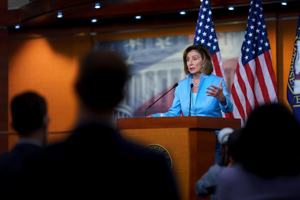 Speaker of the House Nancy Pelosi, D-Calif., meets with reporters at the Capitol in Washington, Friday, Aug. 6, 2021. (AP Photo/J. Scott Applewhite) ORG XMIT: DCSA112